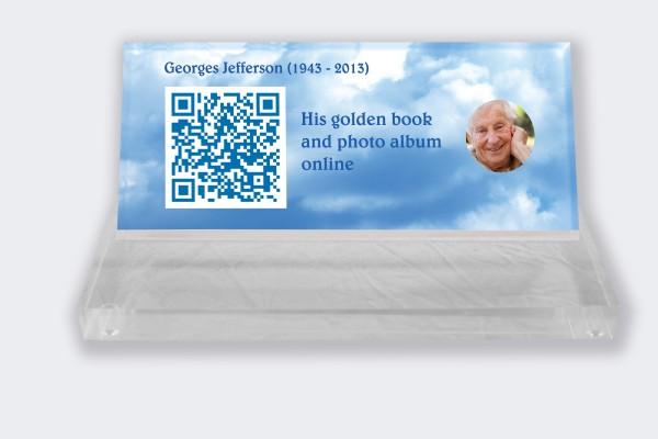 Personalized memorial plaque : Small memorial plaque QR Code - Blue sky