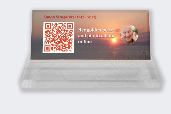 Personalized memorial plaque : Small memorial plaque QR Code - Sunset