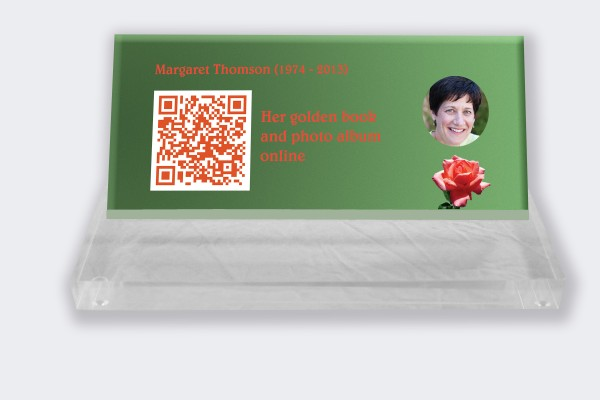 Personalized memorial plaque : Small memorial plaque QR Code - Candle with green background