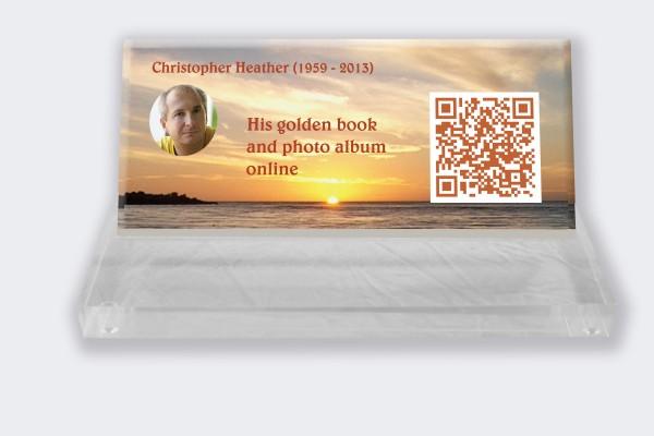 Personalized memorial plaque : Small memorial plaque QR code - Sunset sea