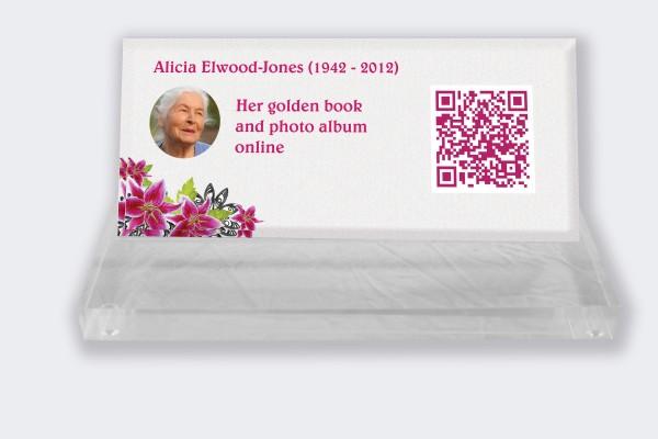 Personalized memorial plaque : Small memorial plaque QR Code - Hibiscus white background
