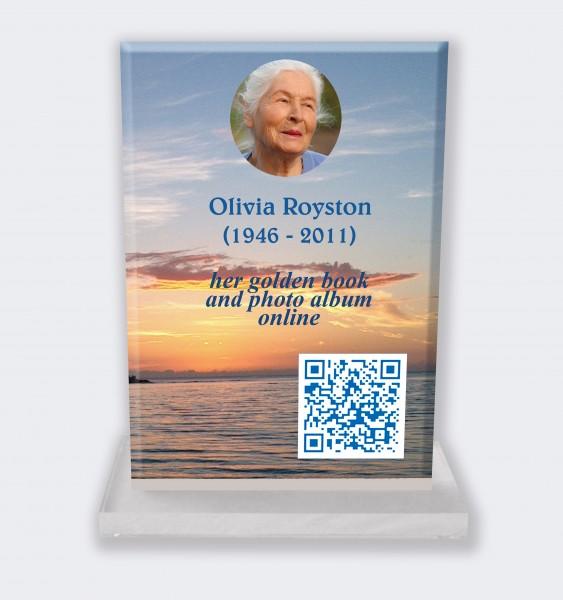 Personalized memorial plaque : Large memorial plaque QR code - Sea sunset