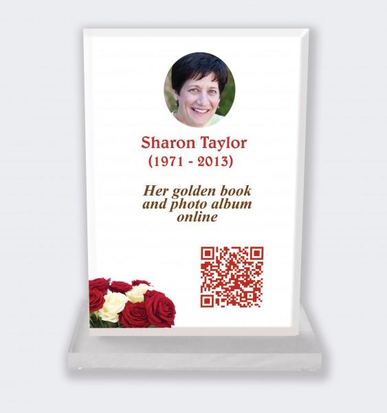Personalized memorial plaque : Large memorial plaque QR code - Bunch of roses