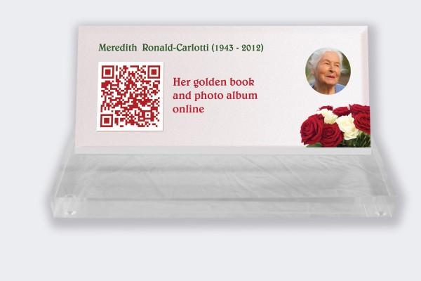 Personalized memorial plaque : Small memorial plaque QR code - Bouquet of roses