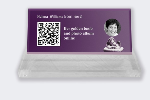 Personalized memorial plaque : Small memorial plaque QR Code - Angel with mauve background