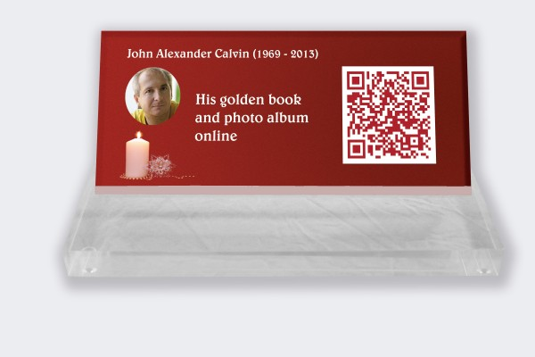 Personalized memorial plaque : Small memorial plaque QR Code - Candle with red background
