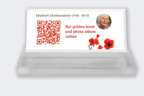 Personalized memorial plaque : Small memorial plaque QR code - Poppies white background