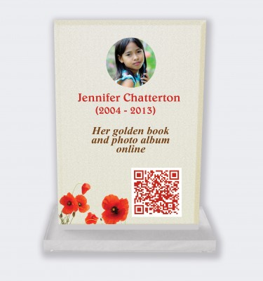 Personalized memorial plaque : Large memorial plaque QR code - Poppies light background